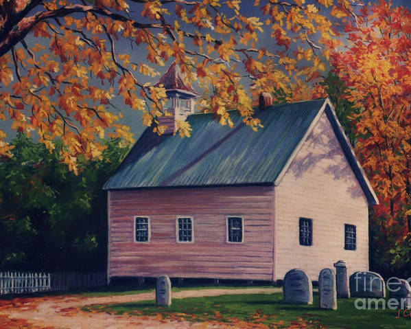 Tennessee Poster featuring the painting Baptist Church Cades Cove by John Clark
