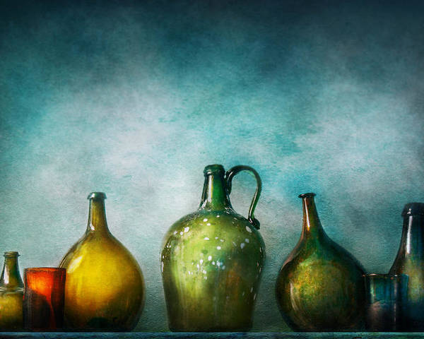 Jug Poster featuring the photograph Bar - Bottles - Green Bottles by Mike Savad
