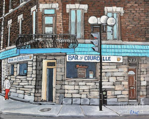 Bars Poster featuring the painting Bar De Courcelle St-henri by Reb Frost