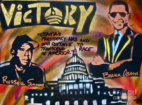 Barack Obama Poster featuring the painting Barack And Russell Simmons by Tony B Conscious