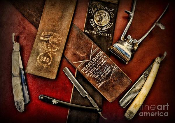 Barber - Vintage Barber Poster featuring the photograph Barber - Barber Tools Of The Trade by Paul Ward