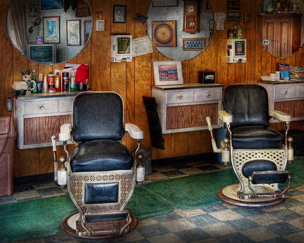Old Barber Chairs >> Barber Frenchtown Nj Two Old Barber Chairs Poster