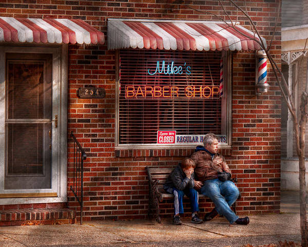 Barber Poster featuring the photograph Barber - Metuchen Nj - Waiting For Mike by Mike Savad