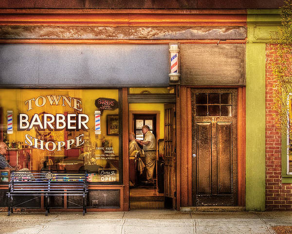 Hair Poster featuring the photograph Barber - Towne Barber Shop by Mike Savad