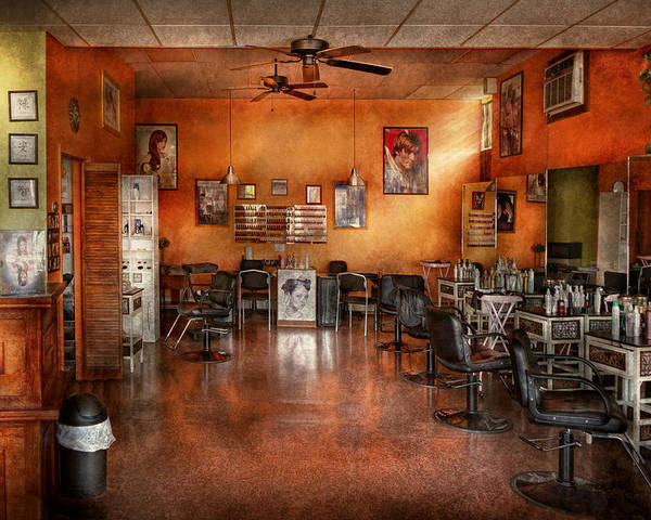 Barber Poster featuring the photograph Barber - Union Nj - The Modern Salon by Mike Savad