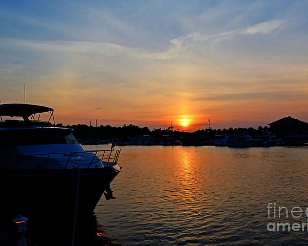 Sunset Poster featuring the photograph Barefoot Landing Sunset by Kathy Baccari