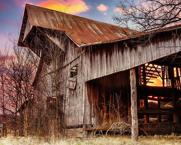 Barn Poster featuring the photograph Barn At Sunset by Brett Engle