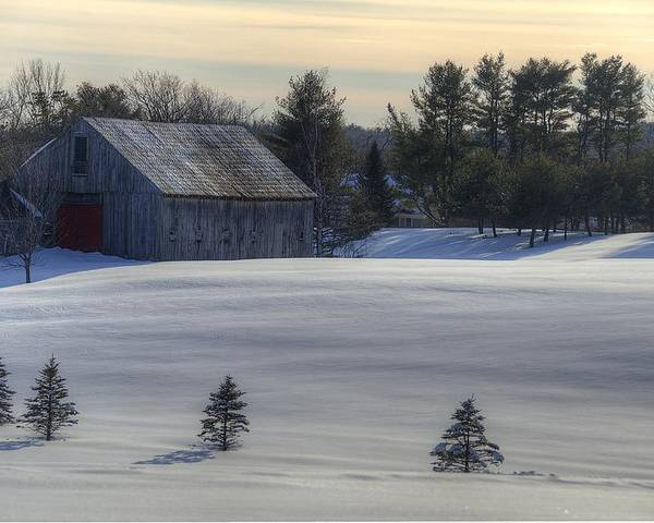 Barn Poster featuring the photograph Barn In Snow In Color by Donna Doherty