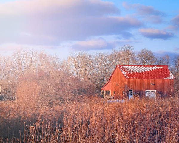 Barn Poster featuring the photograph Barn In Winter by Victoria Winningham