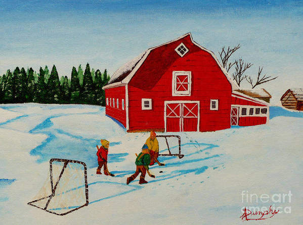 Hockey Poster featuring the painting Barn Yard Hockey by Anthony Dunphy