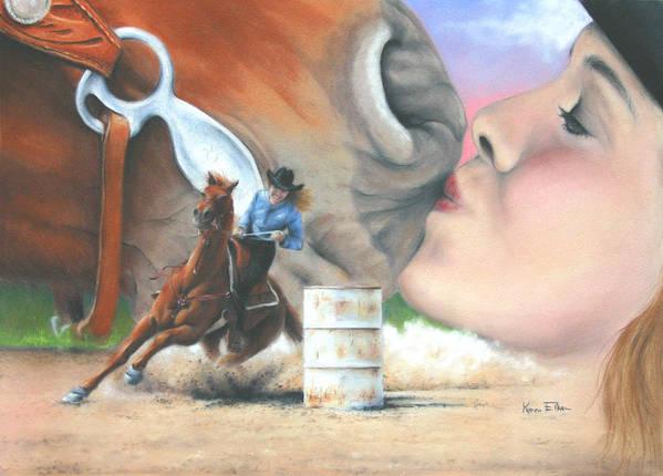 Girl & Horse Poster featuring the pastel Barrel Race by Karen Elkan