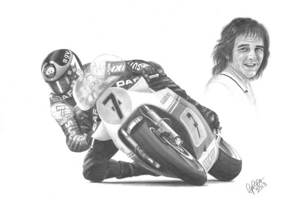 Barry Sheene Poster featuring the drawing Barry Sheene Mbe by Chris Cox
