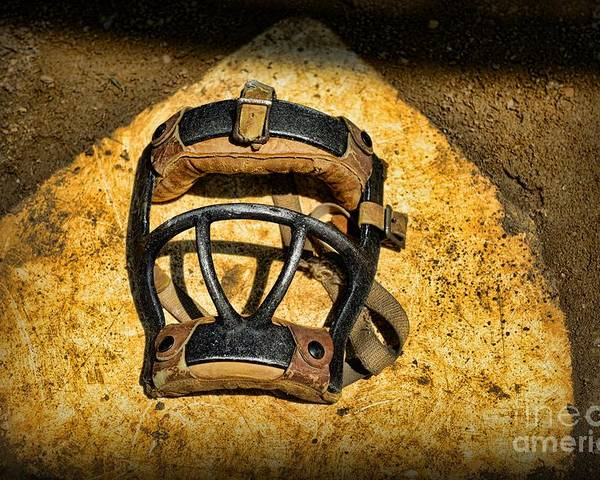 Paul Ward Poster featuring the photograph Baseball Catchers Mask Vintage by Paul Ward