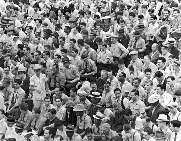 1956 Poster featuring the photograph Baseball Fans In The Bleachers At Yankee Stadium. by Underwood Archives