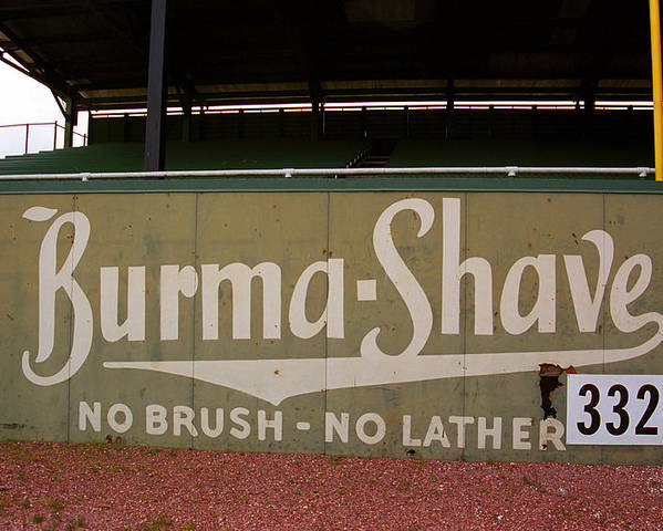 Ad Poster featuring the photograph Baseball Field Burma Shave Sign by Frank Romeo