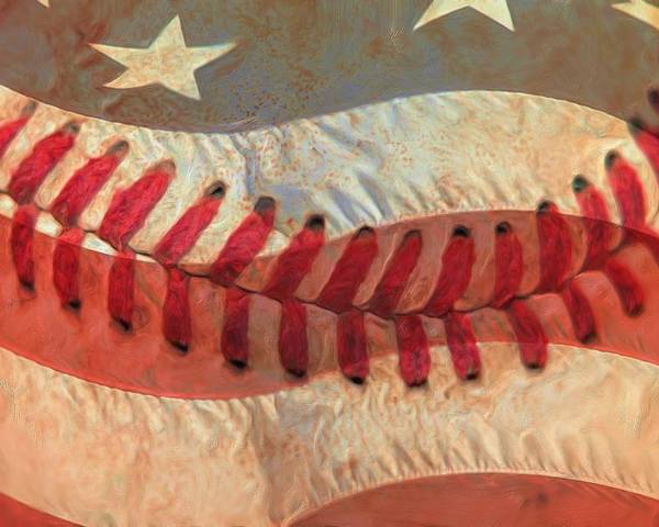 America Poster featuring the photograph Baseball Is Sewn Into The Fabric by Heidi Smith
