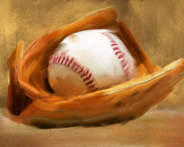 Baseball Poster featuring the digital art Baseball V by Lourry Legarde