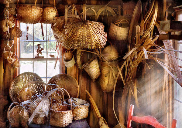 Savad Poster featuring the photograph Basket Maker - I Like Weaving by Mike Savad
