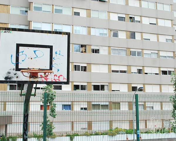 Basket Poster featuring the photograph Basketball Court In A Social Neighbourhood by Luis Alvarenga