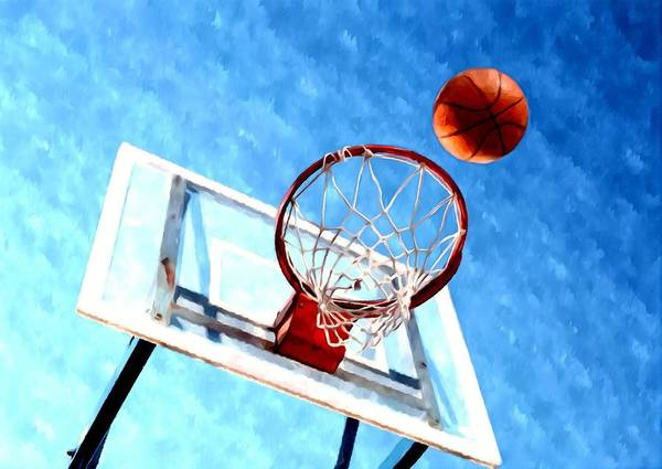 Basketball Hoop And Ball Poster featuring the painting Basketball Hoop And Ball 1 by Lanjee Chee