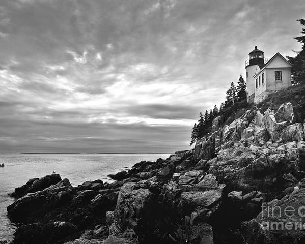 Bar Harbor Poster featuring the photograph Bass Harbor Lighthouse At Dusk by Diane Diederich
