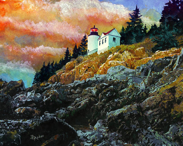 Bass Harbor Poster featuring the painting Bass Harbor Lighthouse Sunset by Brent Ander
