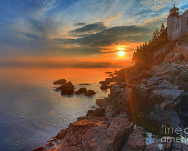 Bass Harbor Lighthouse Poster featuring the photograph Bass Harbor Sunset by Adam Jewell