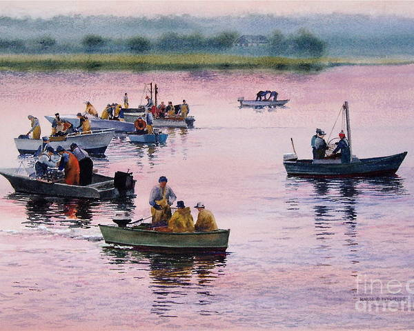 Boats Poster featuring the painting Bass River Scallopers by Karol Wyckoff