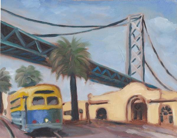 San Francisco Poster featuring the painting Bay Bridge by James Lopez