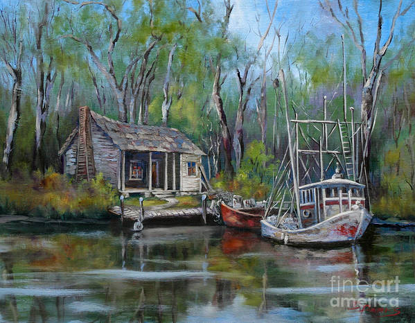 Swamp Art Poster featuring the painting Bayou Shrimper by Dianne Parks