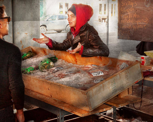 Amsterdam Market Poster featuring the photograph Bazaar - I Sell Fish by Mike Savad