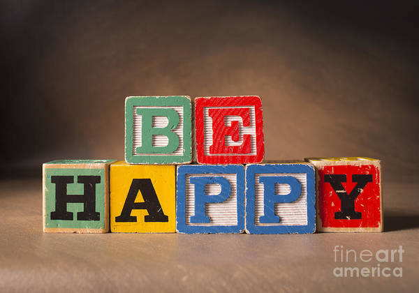 Be Happy Poster featuring the photograph Be Happy - Jabberblocks by Art Whitton