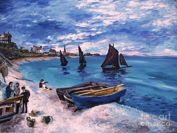 Monet Poster featuring the painting Beach At Sainte Adresse Monet by Eric Schiabor