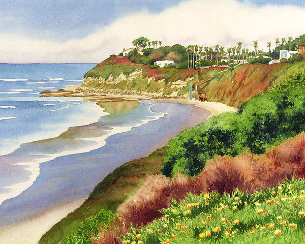Encinitas Poster featuring the painting Beach At Swami's Encinitas by Mary Helmreich