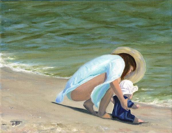Beach Scenes Poster featuring the painting Beach Baby by Deborah Butts