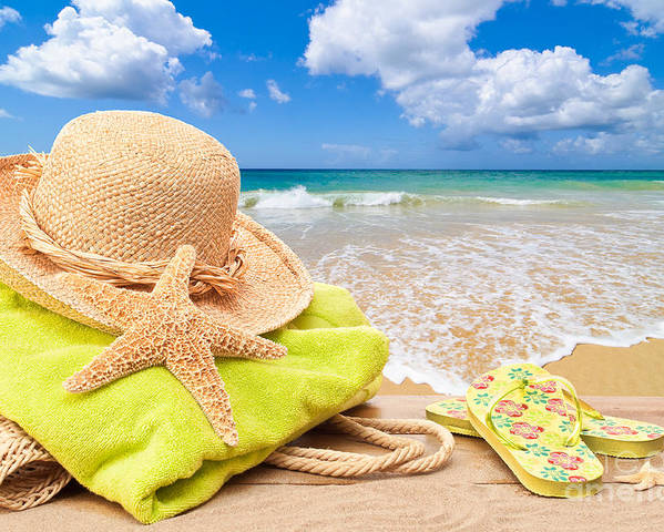 Summer Poster featuring the photograph Beach Bag With Sun Hat by Amanda Elwell