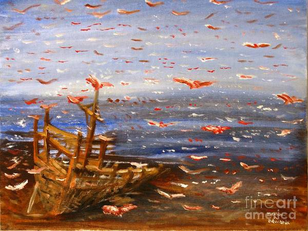 Birds Poster featuring the painting Beach Boat And Birds by Michael Anthony Edwards