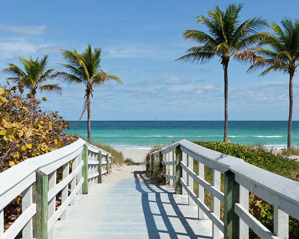 Florida Poster featuring the photograph Beach Entrance, Florida by Kubrak78
