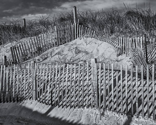 Cape Cod Poster featuring the photograph Beach Fence Bw by Susan Candelario