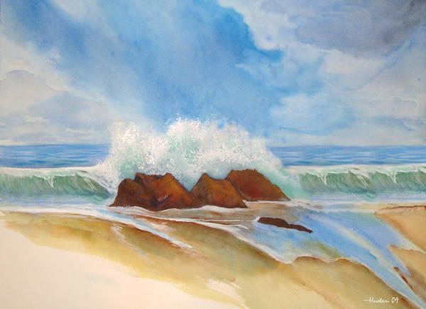 Rick Huotari Poster featuring the painting Beach Front by Rick Huotari