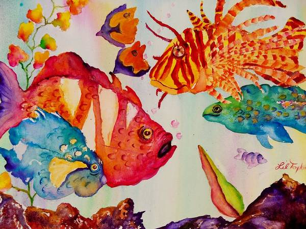 Aquarium Poster featuring the painting Beach Fun by Lil Taylor