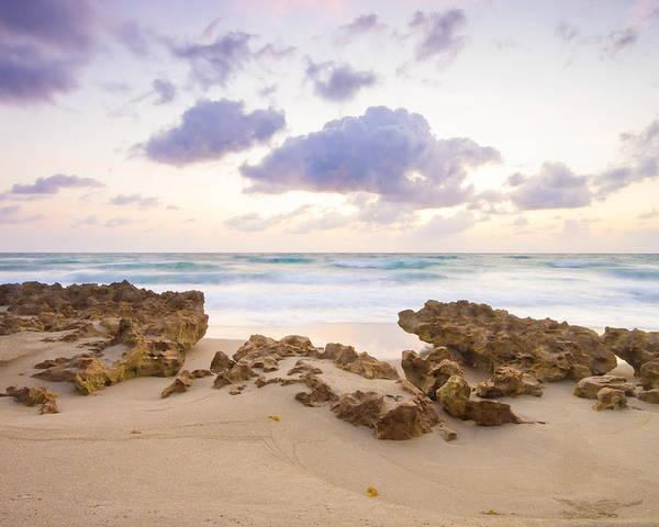 Florida Poster featuring the photograph Beach Sunrise At Jupiter Island Florida by Bill Swindaman