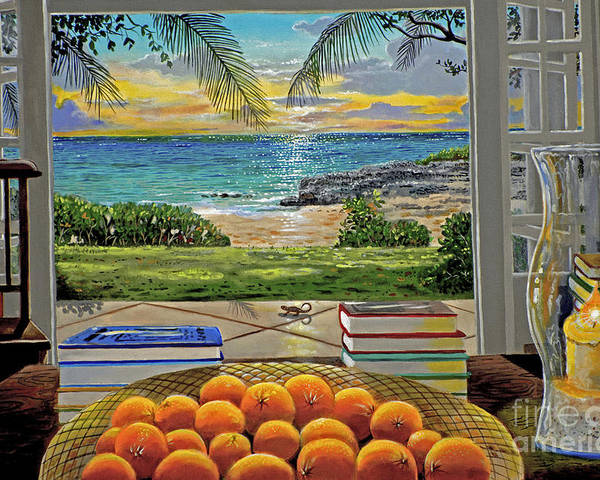 Beach Poster featuring the painting Beach View by Carey Chen