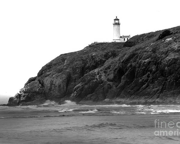 Black And White Poster featuring the photograph Beach View Of North Head Lighthouse by Robert Bales