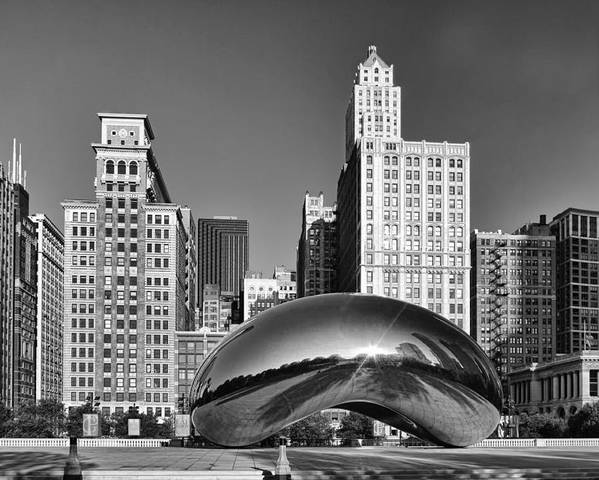 Cloud Gate Poster featuring the photograph Bean Skyline by Mike Burgquist
