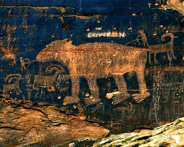 Petroglyph Poster featuring the photograph Bear Wall by Thomas Levine