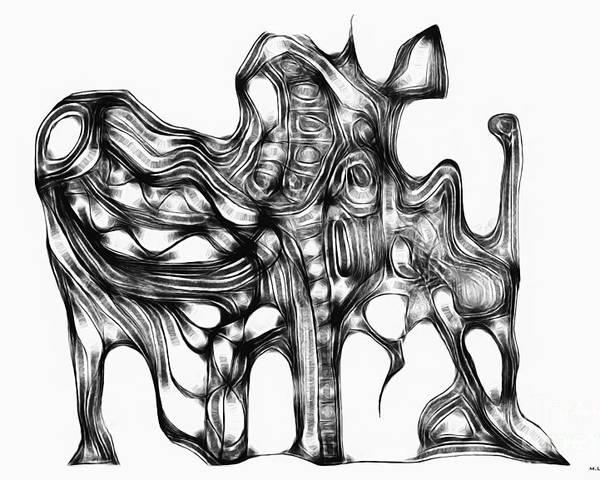 Graphic Poster featuring the digital art Beast 711 - Marucii by Marek Lutek