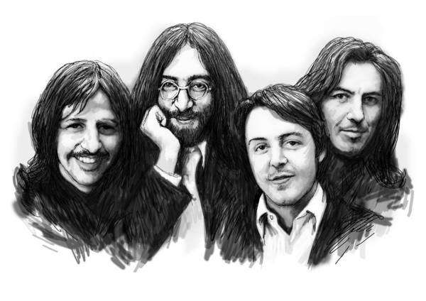 The Beatles Were An English Rock Band That Formed In Liverpool Poster featuring the drawing Beatles blackwhite drawing sketch poster by Kim Wang