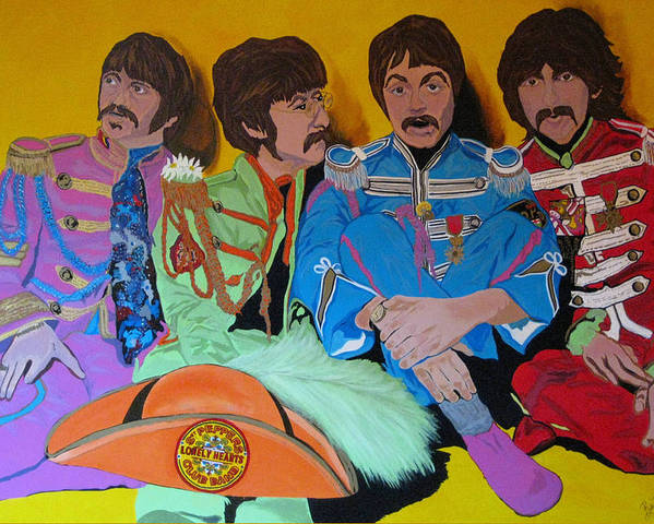 Beatles Poster featuring the painting Beatles-lonely Hearts Club Band by Bill Manson