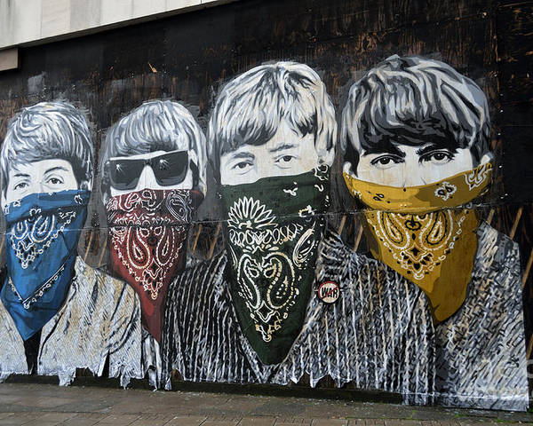 Banksy Poster featuring the photograph The Beatles wearing face masks street mural by RicardMN Photography